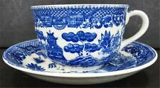 Japan Blue Willow Cup Saucer Set Black Stamp Shape B Blue White Transferware