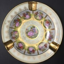 WESTERN GERMANY HAND PAINTED ASHTRAY LOVE STORY PATTERN~HEAVY GOLD~YELLOW~PINK