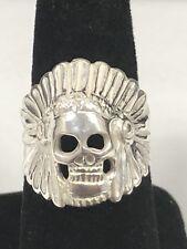 925 Sterling Silver Skull Ring Biker Heavy Solid 925 NEW Indian Skull Chief Sz 9