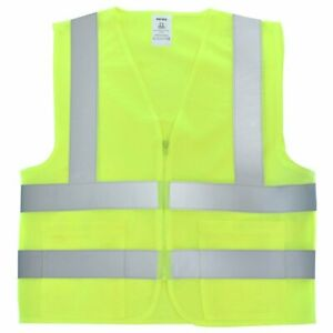 2 Pockets Yellow Solid-Mesh High Visibility Safety Vest, ANSI/ ISEA 107-2010