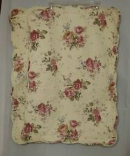 Elena Brunelli Queen Floral Quilted Pillow Shams, Ivory, Pink, Red, Green