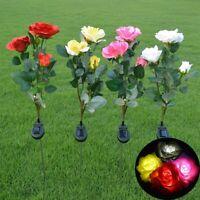 Solar Power Rose Flower Garden Stake landscape Lamp Yard Lawn LED Outdoor Light
