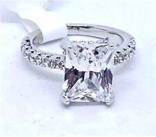Silver CZ Solitaire Ring Size 5 Women's Faux Rhinestones Fashion USA Quick Ship