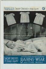 WW11 Vintage retro  photo copy knitting Pattern BAIRNS-WEAR 1224 baby  dreses