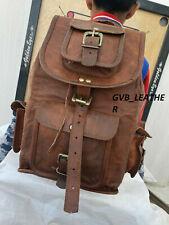 Genuine stylish Vintage Leather Rucksack Laptop Backpack Travel Walking Handmade