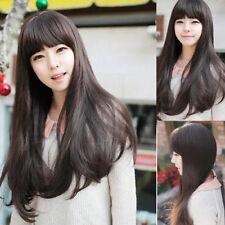 100% Real hair! Fashion Charm Women's Long Dark Brown Straight Human Hair Wigs