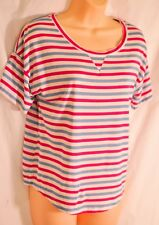 women's GapBody top size small red/green striped scoop neck short sleevecotton m