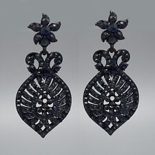 New Blue Dark Indigo Crystal Rhinestone Drop Dangle Earrings 00139 Black Alloy