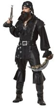 Pirate Man Costume Black 6 Pc Shirt Bandana Belt Waist Sash, & Boot Tops Plus Sz