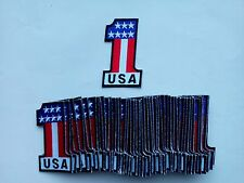 "50 Pcs USA #1 Flag Biker Embroidered Patches 3.25""x2"""