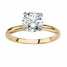 Ring For Women In 925 Silve Yellow Plated White Round Stone Solitaire Engagement