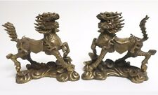 Antique Chinese Bronze Dragon Kylin Kirin Kilin Chi-Lin Beast Statue Pair