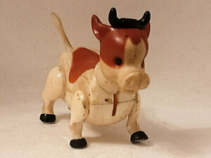 Small Poseable Plastic Toy Cow