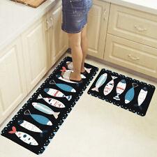 2PCs Kitchen Floor Non-Slip Carpet Bathroom Door Area Rug Home Mats Set UK'
