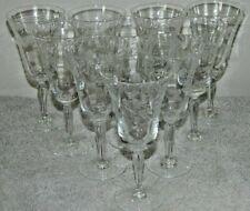 Vintage Set Of 10 Crystal Clear Optic Etch Dot Leaf Stem Liqueur Cordials 2 oz