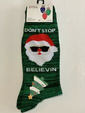 Christmas Holiday Funky Socks Santa Believin Men's Dress Casual Novelty Crew