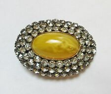 Antique Hatpin Large Marbled Yellow Glass Rhinestone Oval