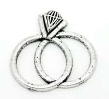 10 Antique Silver Double Wedding & Engagement Ring Charm Craft Embellishments