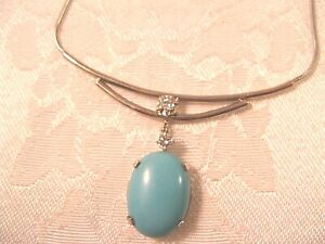14K GOLD 11.75CT TURQUOISE .21CT DIAMOND HAND MADE PENDANT &16.5'' NECKLACE 7.4G