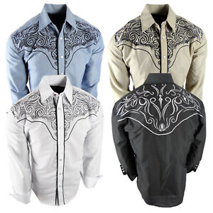 Mens Western Rodeo Shirt Floral Embroidered Shoulders and Back Snap Up Cowboy
