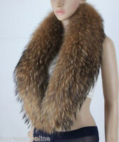 "Men Real Raccoon Fur Collar Scarf Natural Color Neck Warmer 110X20cm/43X8"" US"
