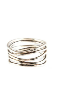 Tiffany & Co Womens Sterling Silver Elsa Peretti Five Row Wave Ring Size 6.75
