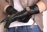 calharmon women warm mid long ruffle real leather gloves black