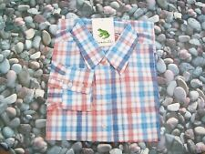 Ladies Grenouille cotton, long sleeve shirt, blue, red/brown and white check