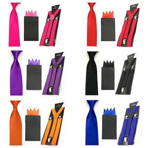 Men Solid Satin Thin Neck Tie Suspender Braces 4 Point Pocket Square Hanky Set