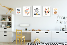 Set of 5 Boys Bedroom Prints / Pictures for Playroom Kids Room Bright Colourful