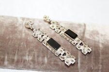 """2 1/4"""" Long Sterling Silver Art Deco Onyx Marcasite Drop Dangle Earrings 15 g"""