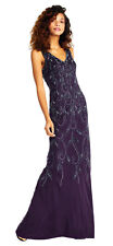 Adrianna Papell Amethyst Vine Motif Beaded Gown with V-neck Formal Dress    4