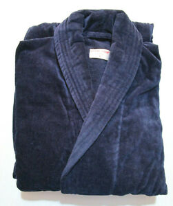 DEREK ROSE BATH ROBE - LARGE - 100% COTTON GOWN - RRP. £120 TOWELLING NAVY BLUE