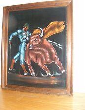 Vintage Black Velvet Bullfighter Bull Painting Framed
