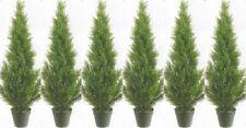 6 CEDAR OUTDOOR 3' TOPIARY TREE ARTIFICIAL UV CYPRESS PINE 5 4 EVERGREEN JUNIPER