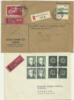 1943/8  SWITZERLAND x 2 EXPRESS COVERS  BERNE & ZURICH 1 EX ATLAS STAMP COMPANY