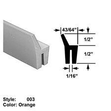 "High Temp. Push-On Seal w/ Wiper Style 3 Ht. 1/2"" x Wd. 43/64"" - Orange - 10 ft"