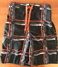~Awesome~ Joe Boxer Swim Shorts Trunks Lined: Black Orange (10/12)
