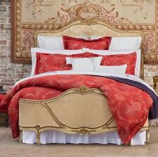 Sferra Dania Duvet Cover F/Queen Crimson Red Egyptian Cotton Sateen Jacquard New