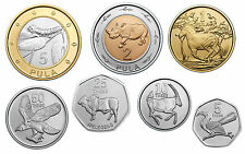 BOTSWANA ANIMALS 7 COINS SET 5, 10, 25, 50 THEBE + 1, 2, 5 PULA BIMETAL UNC 2013