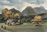 CHURCH CLOSE AMBLESIDE LAKE DISTRICT Small Watercolour Painting 19TH CENTURY
