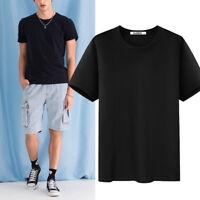 Men's Fashion Short Sleeve Shirt Soid Color Casual T-shirt O Neck Tops Blank Tee