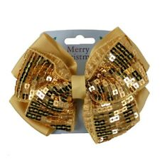 Christmas Festive Sequin Design Ribbon Bow Motif Hair Beak Clip Slide Grip