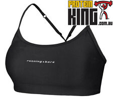 RUNNING BARE PUSH UP CROP TOP SIZE 8 BLACK WOMENS GYM SPORS FITNESS CLOTHING