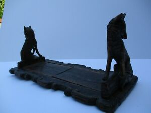 ANTIQUE 19TH CENTURY BOOKENDS WOOD CARVING SCULPTURE FOX STATUE BELGIUM OLD RARE