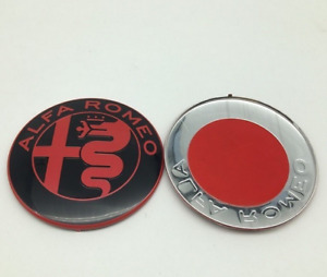 2pcs 74mm Alfa Romeo Black Red Front Hood Boot Trunk Badges Emblems Stickers