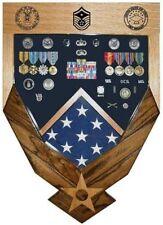 AIR FORCE LOGO LASER TOP WALNUT MILITARY AWARD SHADOW BOX MEDAL DISPLAY CASE