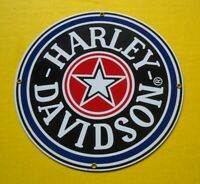 Harley Davidson Porcelain Enamel Sign Fat Boy Gas Cap Heavy Vintage Ande Rooney