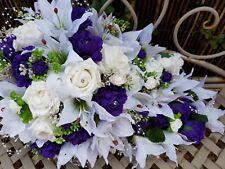TEARDROP BRIDES WEDDING BOUQUET WHITE & PURPLE ROSES LILIES PEARLS DIAMANTES