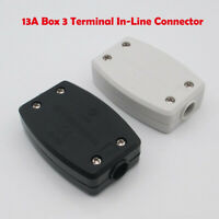 13A 3 Terminal In-Line Connector Box, 240V Mains Electric Cable Flex Joiner AU